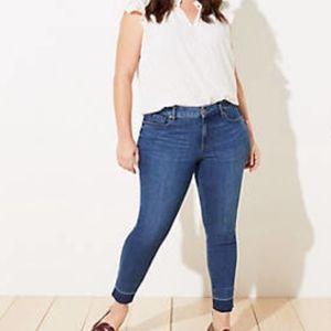 Loft Plus Slim Pockets Skinny Let Out Raw Hem Jeans Size 18T New